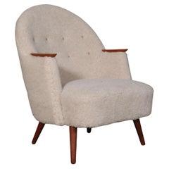 Danish Cabinetmaker, Lounge Chair Lambwool, 1940s