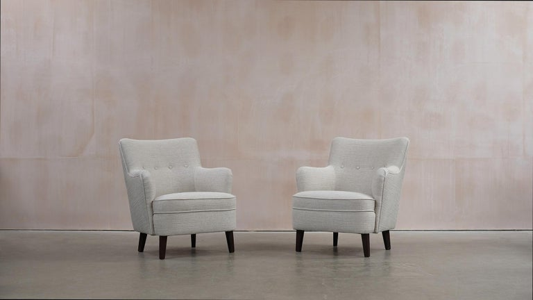 Fabric Danish Cabinetmaker Lounge Chairs For Sale