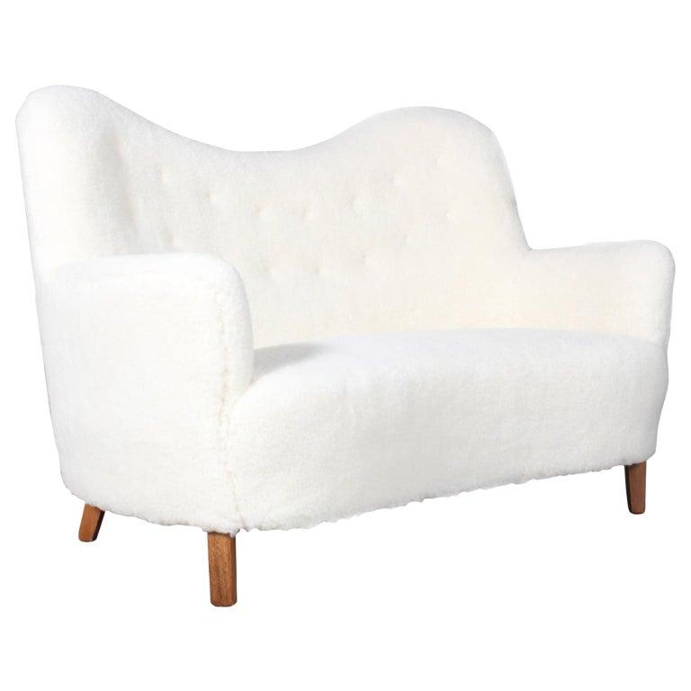 Danish Cabinetmaker Love Seat Sofa Lambwool Sofa, 1940s For Sale