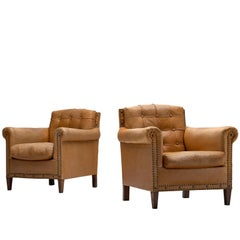 Danish Cabinetmaker Pair of Easy Chairs in Light Cognac Leather