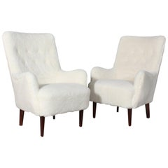 Danish Cabinetmaker, Set of Lounge Chairs Lamb Wool, 1940s