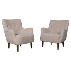 Danish Cabinetmaker, Set of Lounge Chairs Lambwool, 1940s