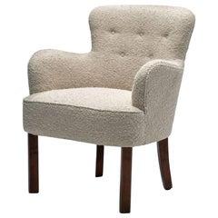 Danish Cabinetmaker Small Chair in Premium Bouclé Fabric, Denmark, 1940s