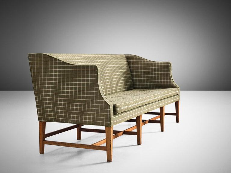Scandinavian Modern Danish Cabinetmaker Sofa in Mahogany and Upholstery For Sale