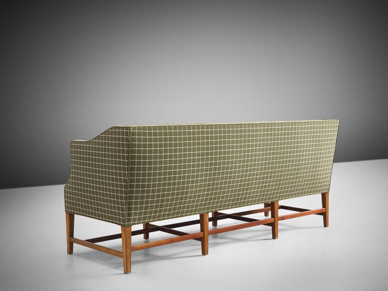 Mid-20th Century Danish Cabinetmaker Sofa in Mahogany and Upholstery For Sale