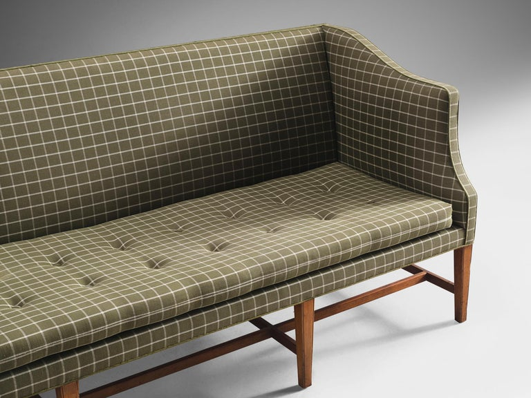Fabric Danish Cabinetmaker Sofa in Mahogany and Upholstery For Sale