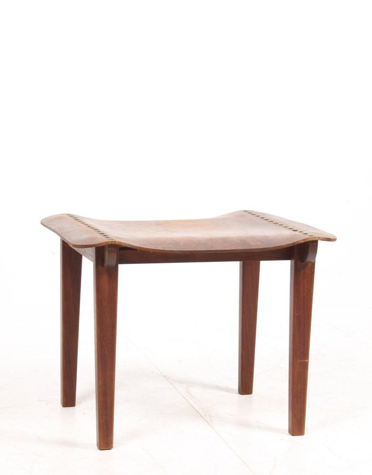 Scandinavian Modern Danish Cabinetmaker Stool in Patinated Leather and Teak, 1940s For Sale
