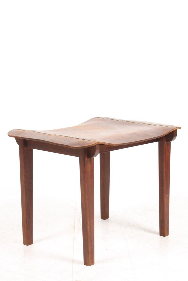 Mid-20th Century Danish Cabinetmaker Stool in Patinated Leather and Teak, 1940s For Sale