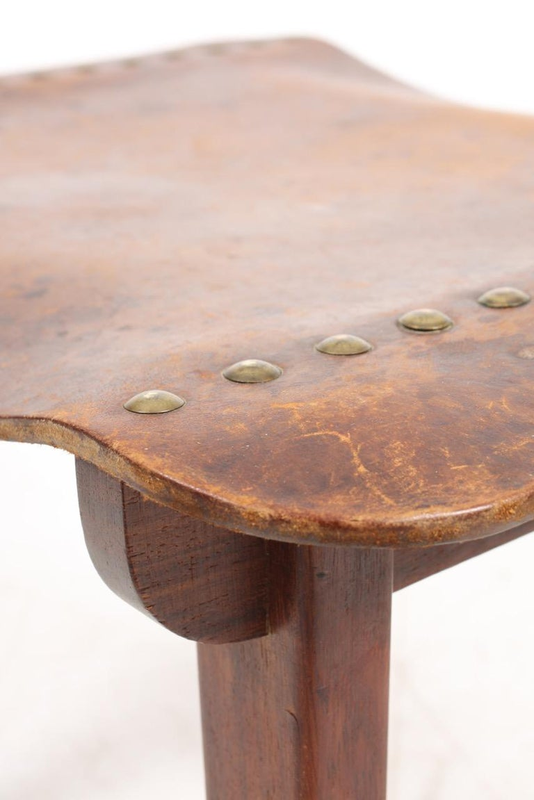 Danish Cabinetmaker Stool in Patinated Leather and Teak, 1940s For Sale 2