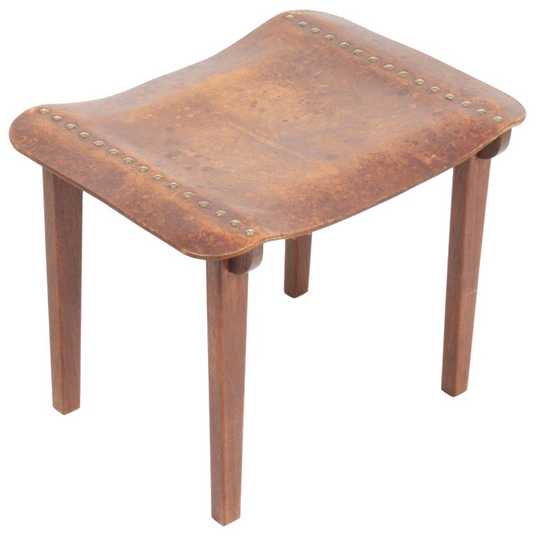 Danish Cabinetmaker Stool in Patinated Leather and Teak, 1940s For Sale