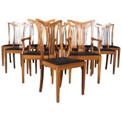 Danish Cabinetmaker, Twelve-Dining Chairs in Chippendale Style 1940s