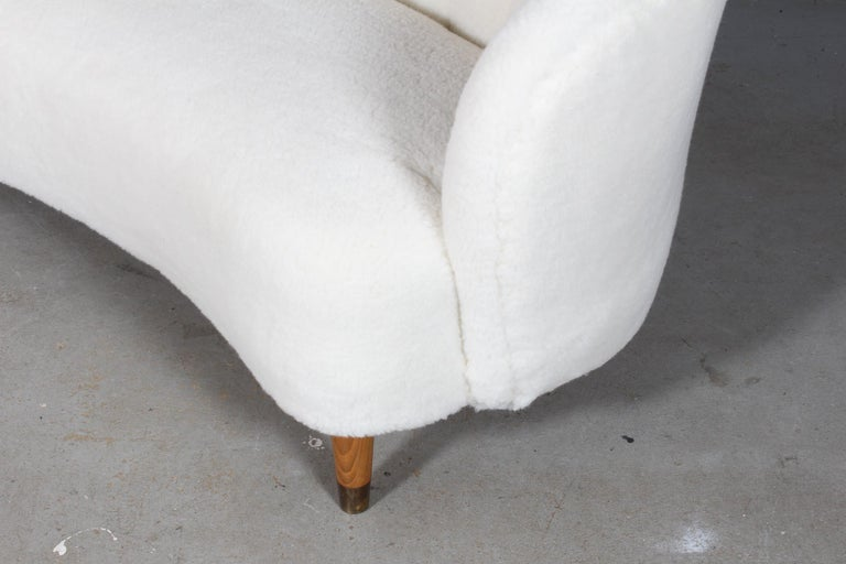 Scandinavian Modern Danish Cabinetmaker Two½-Seat Sofa Lambwool Sofa, 1940s For Sale