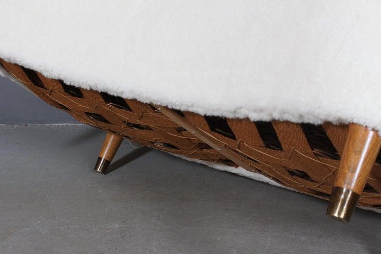 Mid-20th Century Danish Cabinetmaker Two½-Seat Sofa Lambwool Sofa, 1940s For Sale