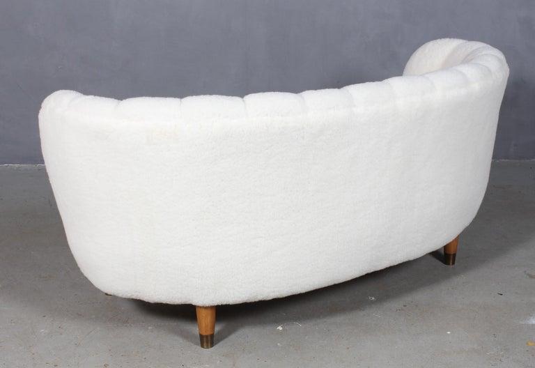 Lambskin Danish Cabinetmaker Two½-Seat Sofa Lambwool Sofa, 1940s For Sale
