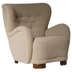 Danish Cabinetmakers Lounge Chair in Bouclé