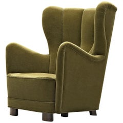 Danish Cabinetmaker's Lounge Chair in Green Upholstery