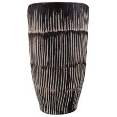 Danish Ceramist, Large Glazed Ceramic Vase with Fluted Body, 1960s-1970s