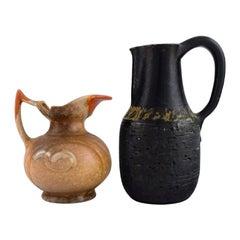 Danish Ceramist, Two Unique Jugs in Glazed Stoneware, 1960s / 70s