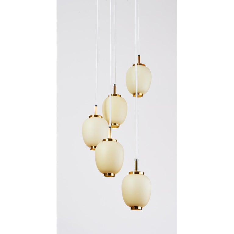 Mid-Century Modern Danish Chandelier with Five Oval Glass Shades, 1960s For Sale