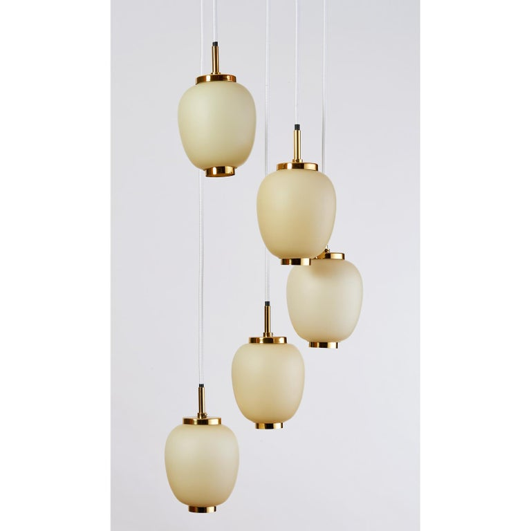 Danish Chandelier with Five Oval Glass Shades, 1960s In Excellent Condition For Sale In New York, NY