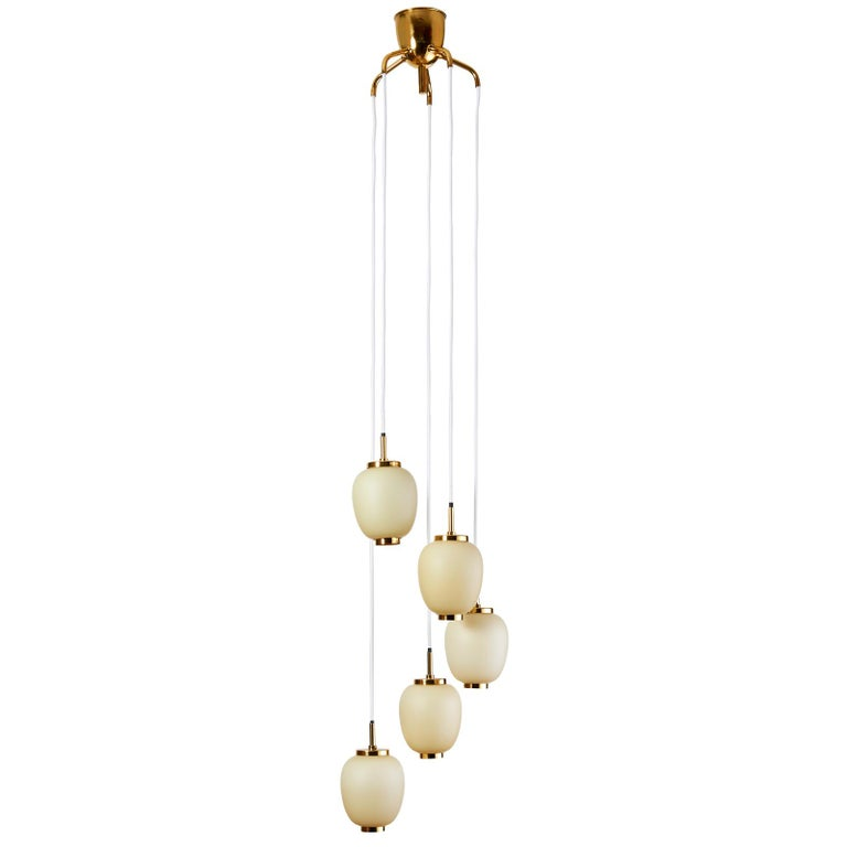 Brass Danish Chandelier with Five Oval Glass Shades, 1960s For Sale