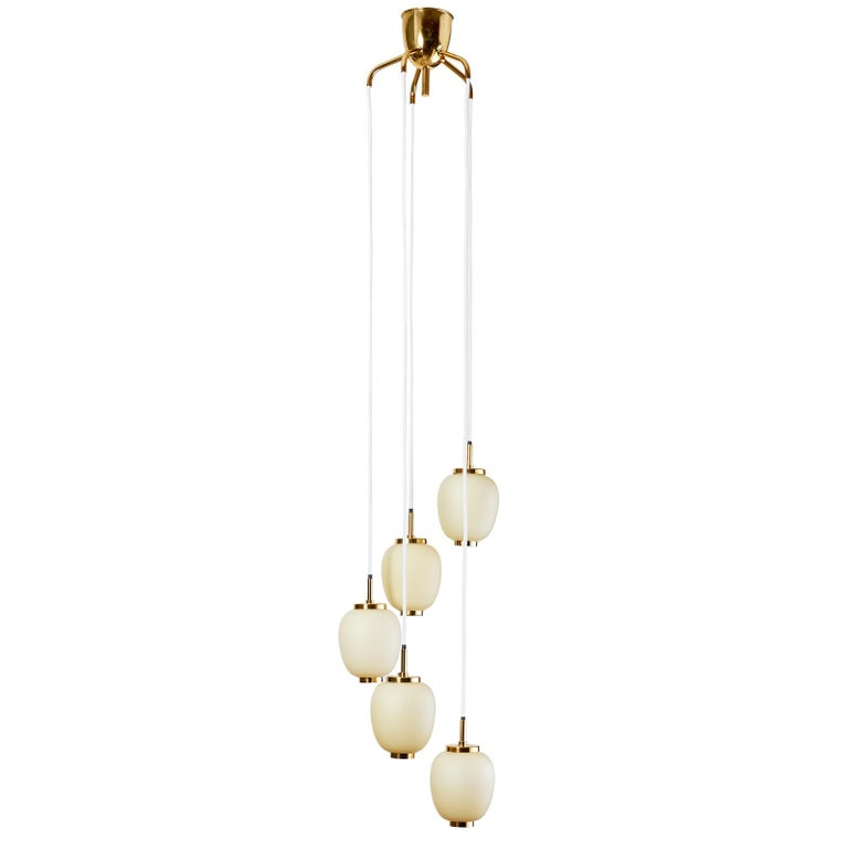 Danish Chandelier with Five Oval Glass Shades, 1960s For Sale