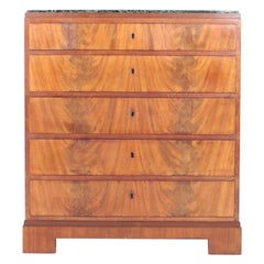 Danish Chest of Drawers in Mahogany and Marble, Designed by Frederik Hansen