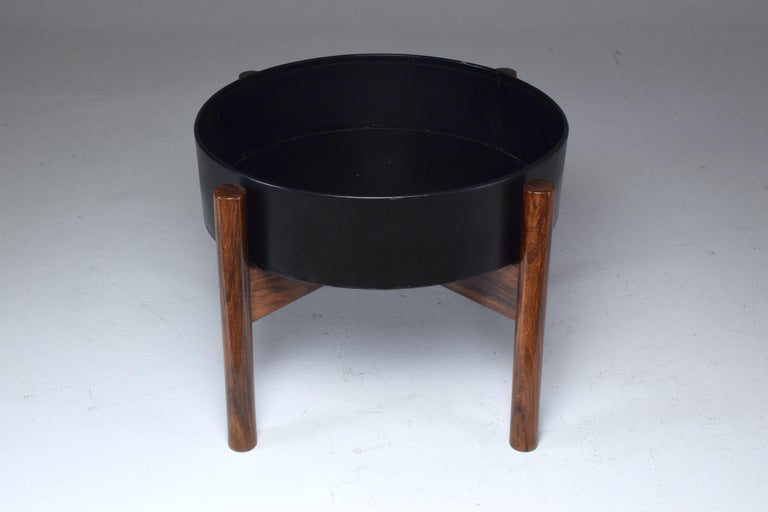 Lacquered Danish Circular Midcentury Rosewood Planter, 1960s For Sale