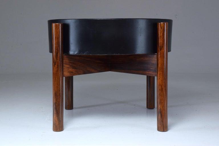 Steel Danish Circular Midcentury Rosewood Planter, 1960s For Sale