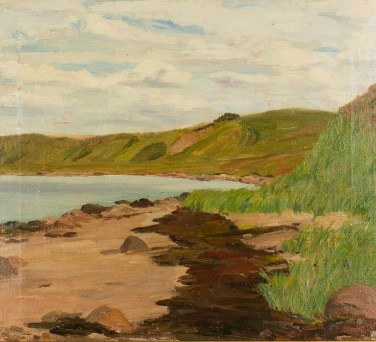 A coastal landscape painting by C. V. Stubbe Teglbjærg (Danish 1894-1971). Oil on canvas. Signed lower right. Dated verso: 1947. Measures: Frame: 21.25