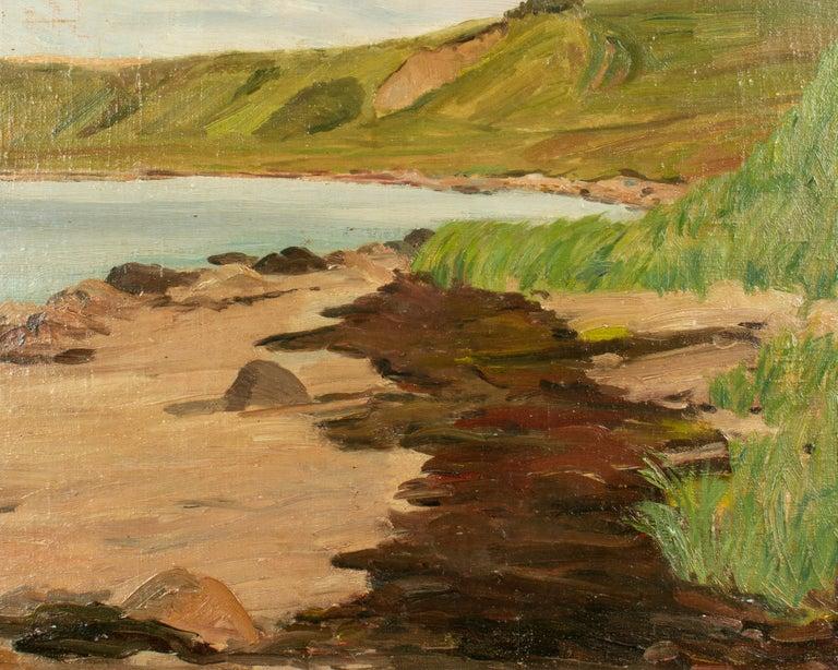 Hand-Painted Danish Coastal Landscape Painting For Sale