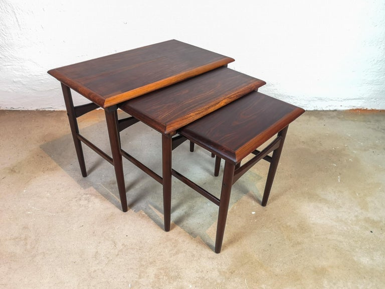 Scandinavian Modern Danish Coffee Table Set, Attributed to Kai Kristiansen Midcentury Rosewood For Sale