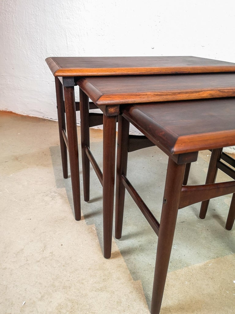 Danish Coffee Table Set, Attributed to Kai Kristiansen Midcentury Rosewood In Good Condition For Sale In Langserud, SE