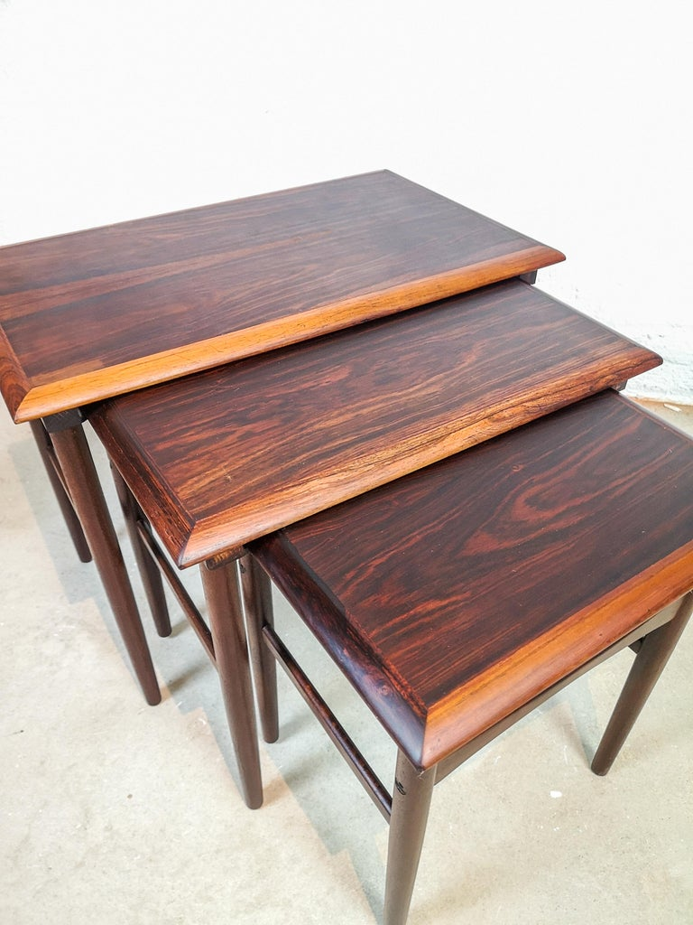 Mid-20th Century Danish Coffee Table Set, Attributed to Kai Kristiansen Midcentury Rosewood For Sale