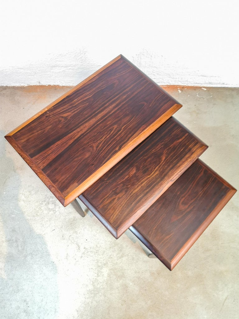 Danish Coffee Table Set, Attributed to Kai Kristiansen Midcentury Rosewood For Sale 1
