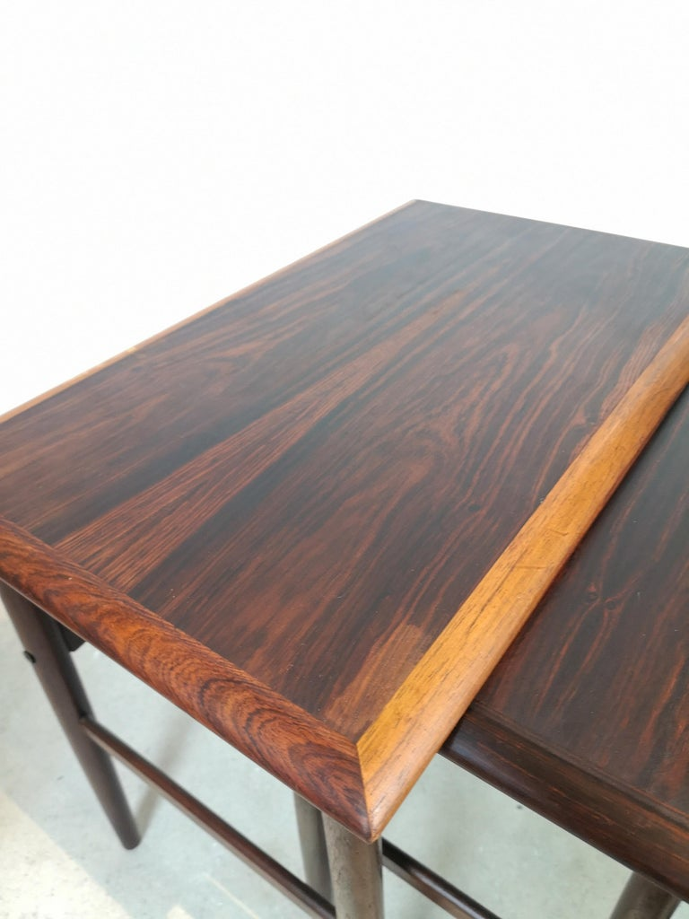 Danish Coffee Table Set, Attributed to Kai Kristiansen Midcentury Rosewood For Sale 2