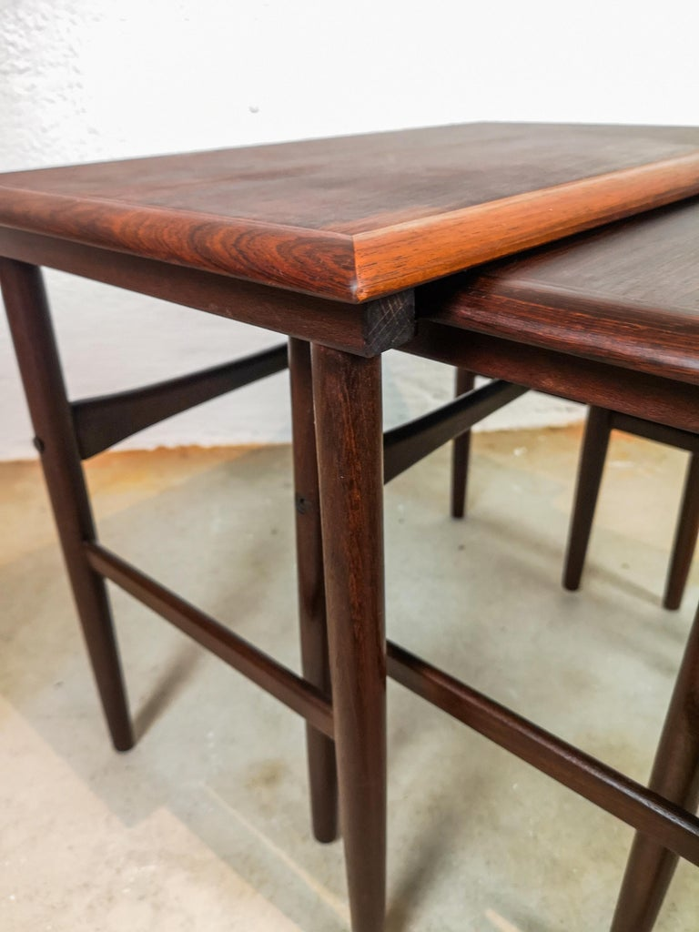 Danish Coffee Table Set, Attributed to Kai Kristiansen Midcentury Rosewood For Sale 3