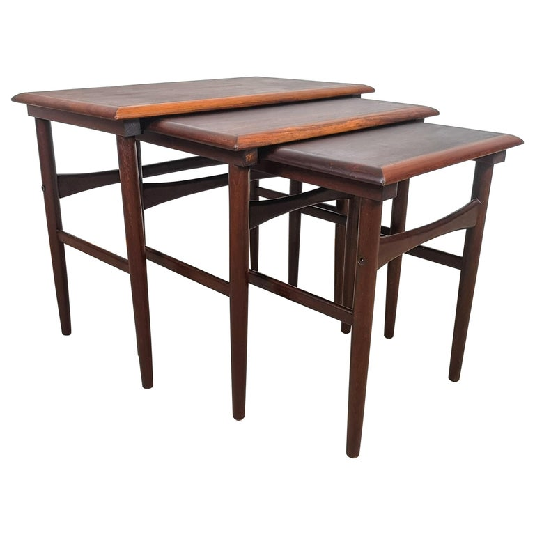 Danish Coffee Table Set, Attributed to Kai Kristiansen Midcentury Rosewood For Sale