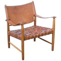 Danish Cognac Leather Safari Chair, 1960s