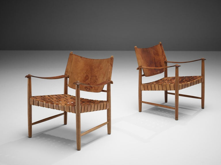 Danish Cognac Leather Safari Chairs, 1950s In Good Condition For Sale In Waalwijk, NL