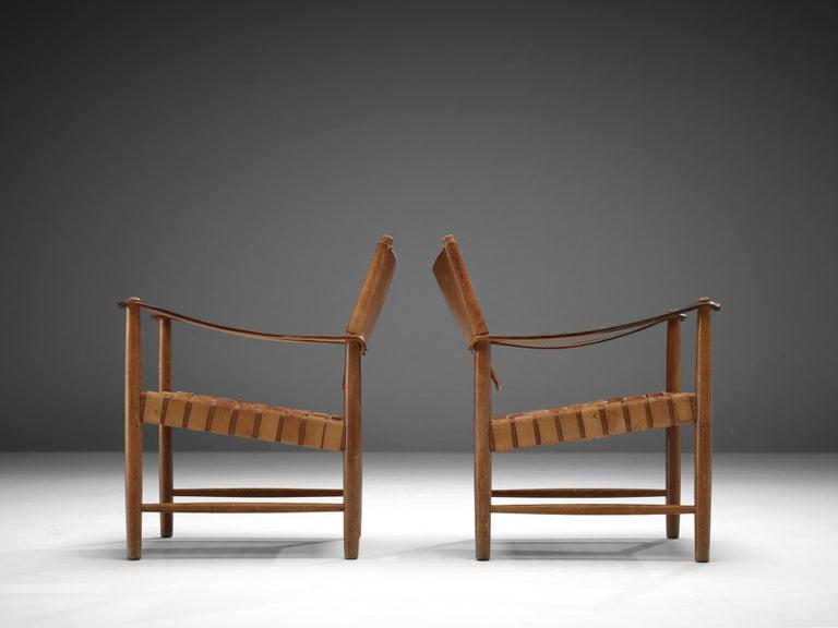 Danish Cognac Leather Safari Chairs, 1950s For Sale 1