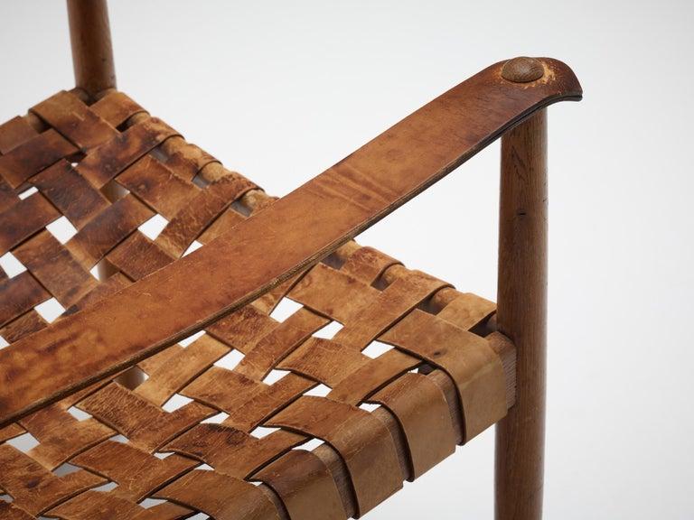 Danish Cognac Leather Safari Chairs, 1950s For Sale 2