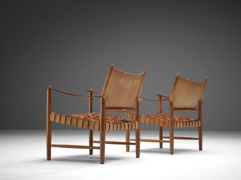 Danish Cognac Leather Safari Chairs, 1950s For Sale 3