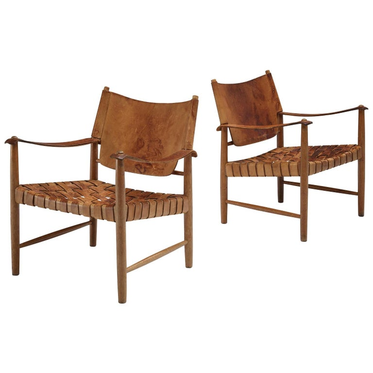 Danish Cognac Leather Safari Chairs, 1950s For Sale