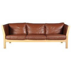 Danish Cognac Leather Sofa from Stouby, Denmark, 1970s