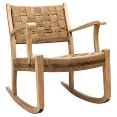 Danish Cord and Beech Rocking Chair, Denmark 1940s