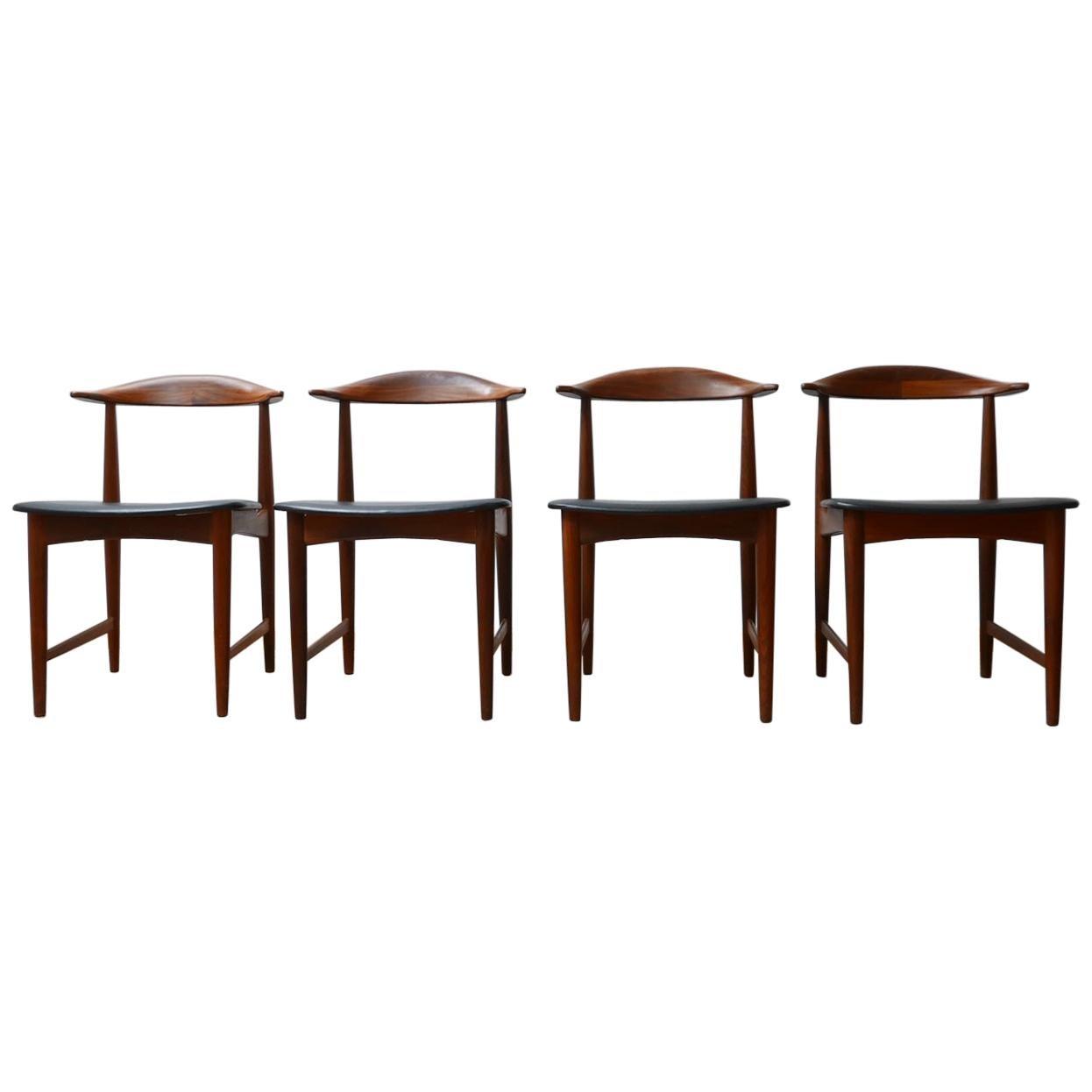 Danish 'Cow Horn' Midcentury Teak Dining Chairs '4'