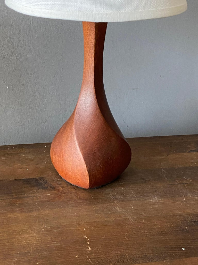 Mid-Century Modern Danish Craft, Small Modernist Table Lamp, Sculpted Solid Teak, Denmark, 1960s For Sale