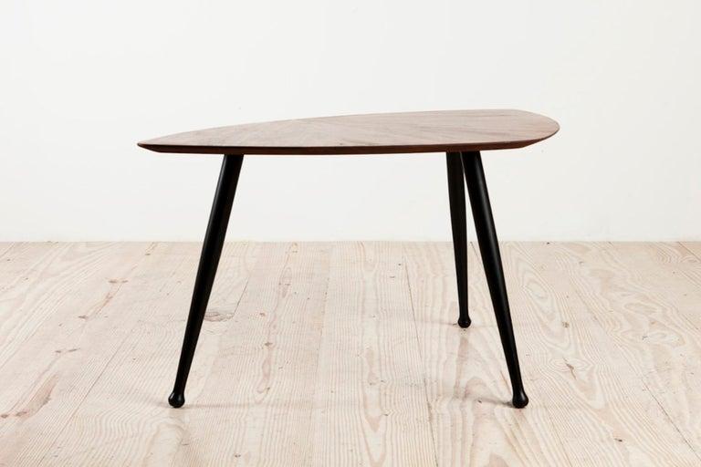 Mid-Century Modern Danish Craftsman Tripod Base Coffee Table, Rosewood Top Ebonized Legs