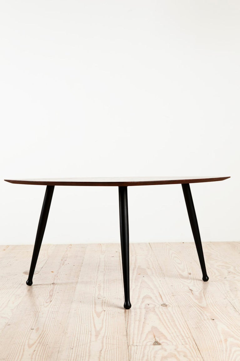 Danish Craftsman Tripod Base Coffee Table, Rosewood Top Ebonized Legs In Excellent Condition In New York, NY
